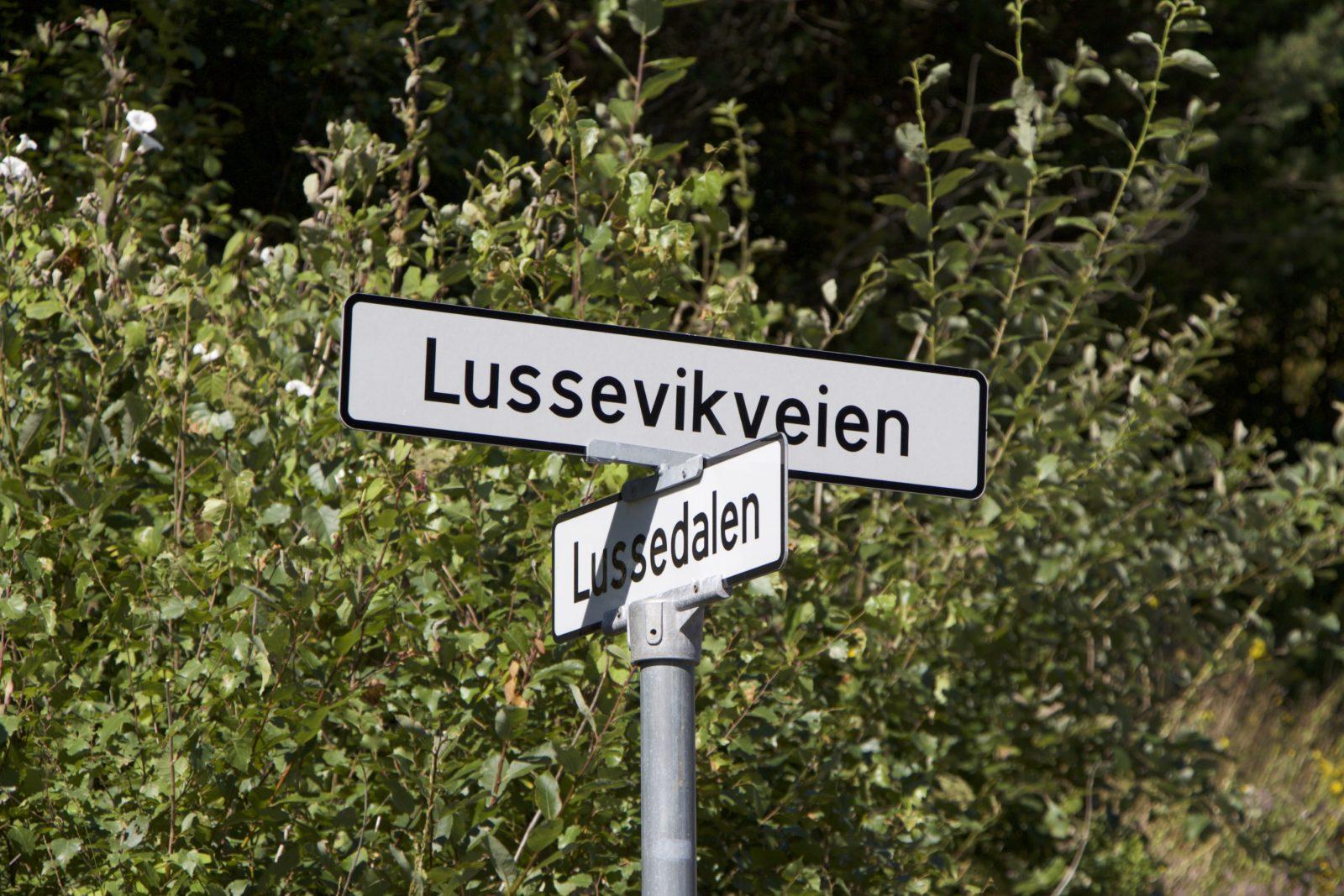 Bilde av veiskilt på Lussevika